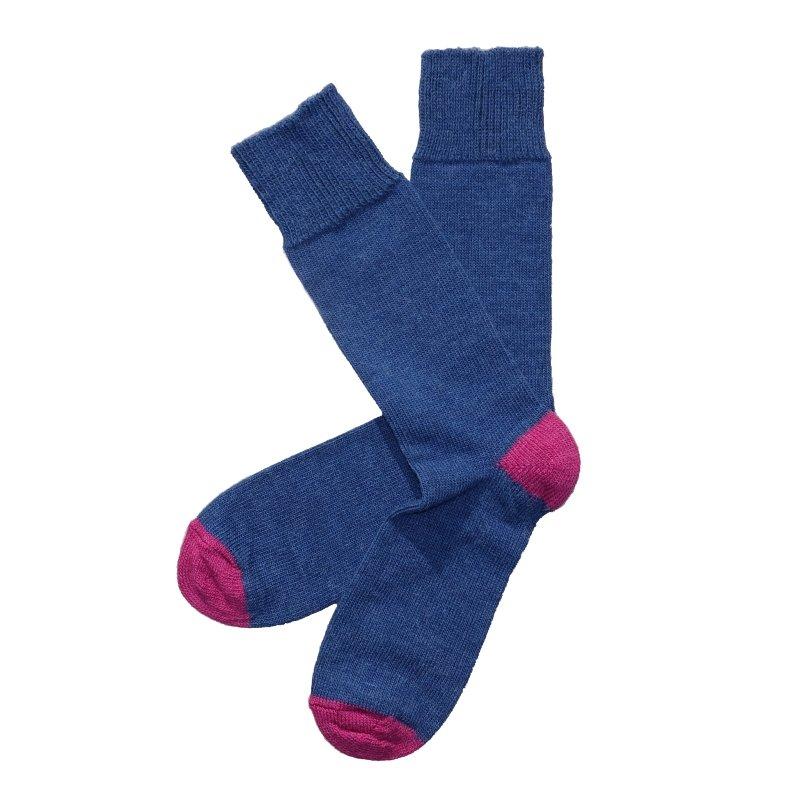 midnight and raspberry contrast alpaca sock