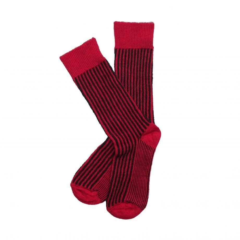 red and charcoal vertical stipe alpaca sock