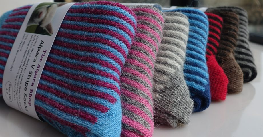 row of vertical stripe alpaca socks