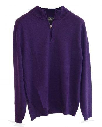 zip neck purple jumper